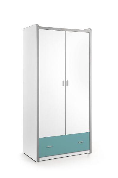 Kleiderschrank 2-trg. Bonny, Weiß Türkis