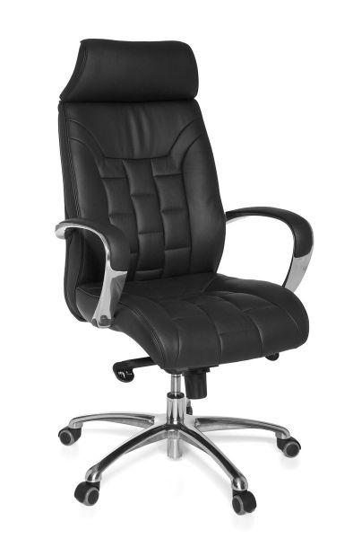 TURIN Bürostuhl, Schreibtischstuhl, Chefsessel, Wippfunktion, Echtleder Schwarz