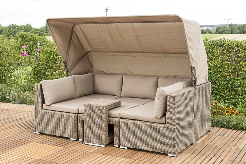 merxx 28267 231 livorno lounge set verschiedene aufstellm glichkeiten mit dach und kissen. Black Bedroom Furniture Sets. Home Design Ideas