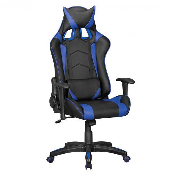 SCORE Bürostuhl Schreibtischstuhl Gaming, Leder-Optik Schwarz Blau