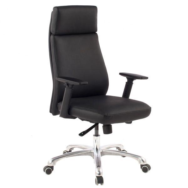 PORTO Bürostuh, Schreibtischstuhl, Chefsessel mit Synchronmechanik, Echtleder in schwarz