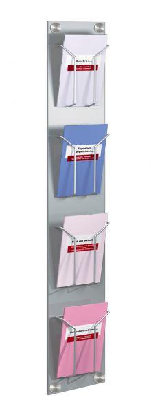 Wand-Prospekthalter artline mit 4 Fächern DIN lang