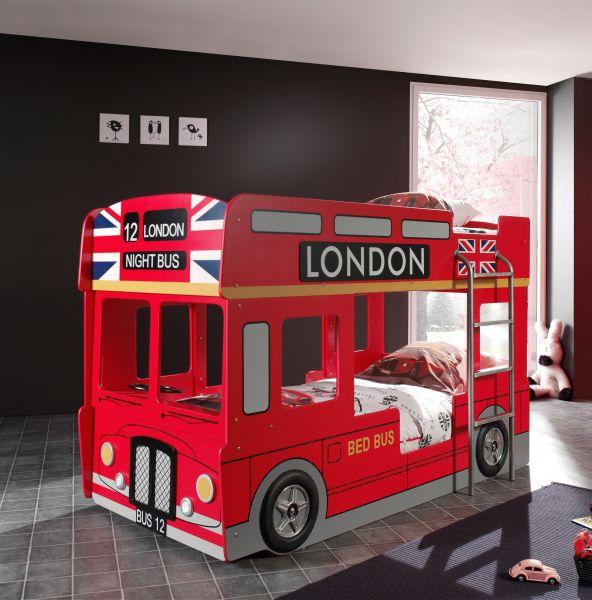 Kinderbett Autobett London Bus, Rot