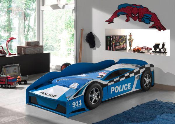 Kinderbett Police Car 70 x 140 cm blau lackiert