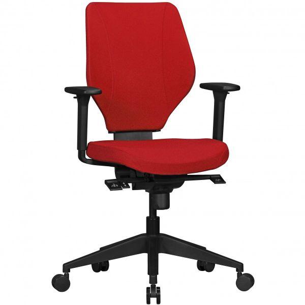 Bürostuhl COLLIN mit Stoff-Bezug in Rot, Synchromechanik & Armlehnen