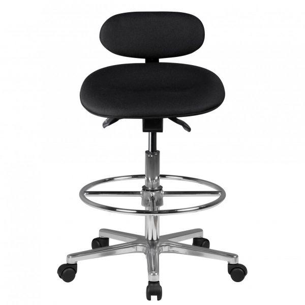 LOUIS Arbeitshocker, Sitzhocker mit Rückenlehne, höhenverstellbar, Schwarz