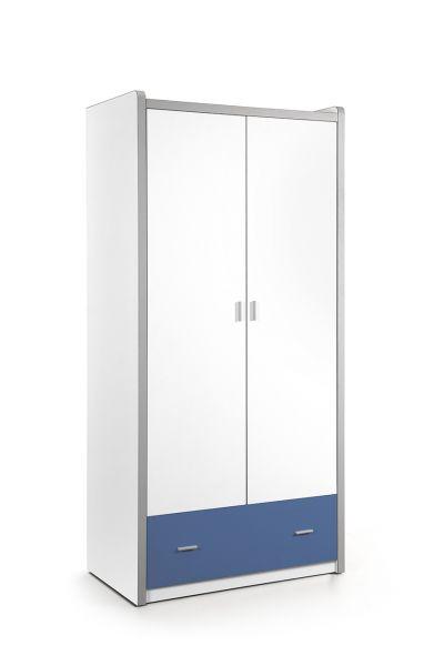 Kleiderschrank 2-trg. Bonny, Weiß Blau
