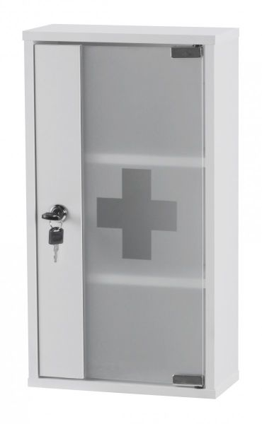 Medizinschrank, Erste-Hilfe-Schrank, abschließbar, Weiß, 48 x 26 x 12 cm
