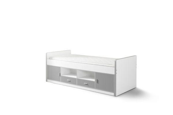Kojenbett Kinderbett Bonny, Weiß / Silbergrau