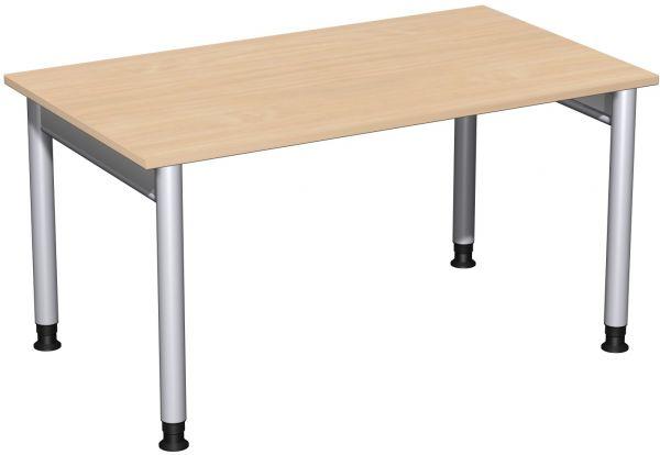 Schreibtisch, höhenverstellbar, 140x80cm, Buche / Silber
