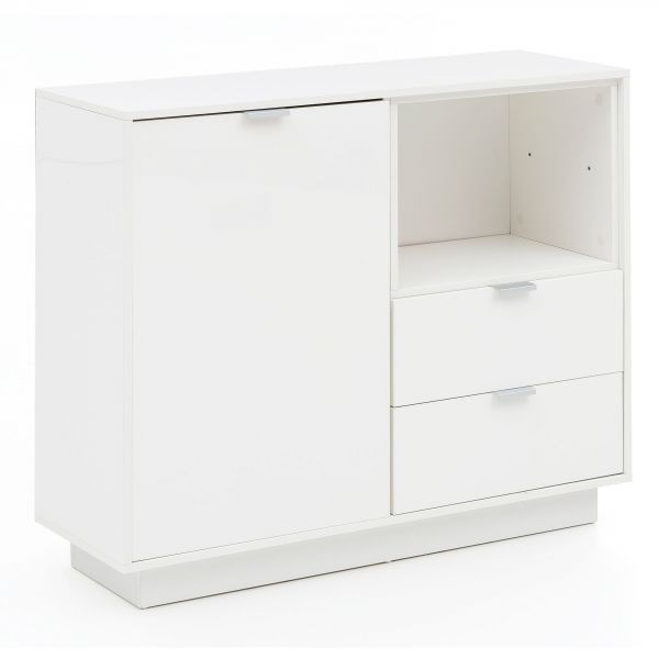 Design Sideboard Holz Anrichte Weiß Hochglanz, 103x88,5x35 cm