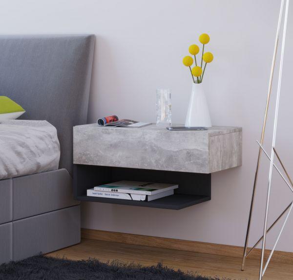"Nachttisch ""Dormal Maxi"" - Beton-Optik"