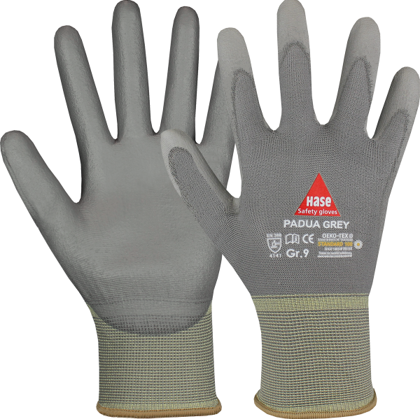 10 Paar - PADUA grey, 5 Finger -Sicherheitshandschuhe, Nylon / PU, waschbar