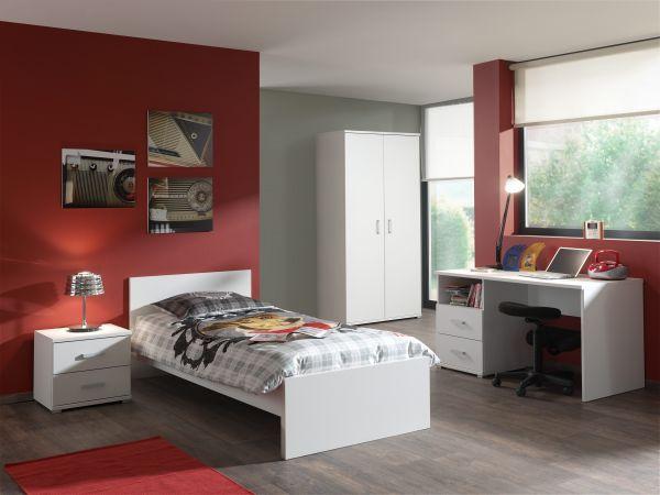 Set Milan best. aus Einzelbett 90x200, Nachtkonsole, Kleiderschrank 2-trg., Schreibtisch, Weiß