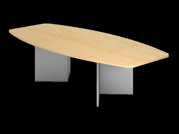 Konferenztisch KT28H 280x130cm Ahorn Holzgestell: Silber
