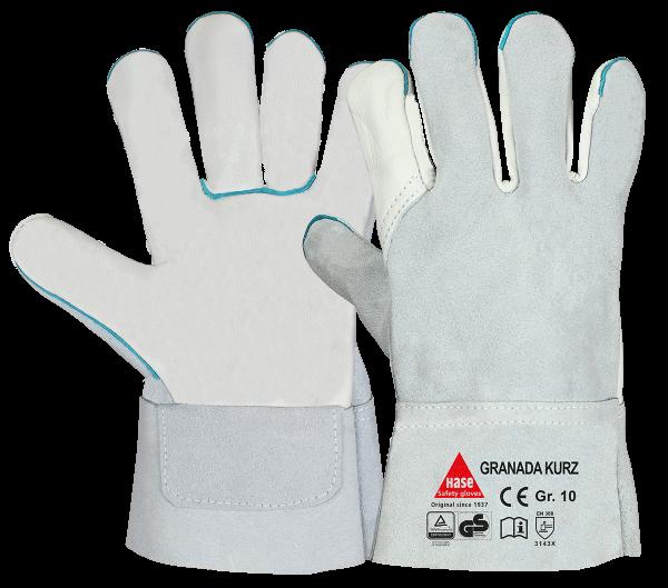 6 Paar - GRANADA-short, 5 Finger -Sicherheitshandschuhe aus Rindleder