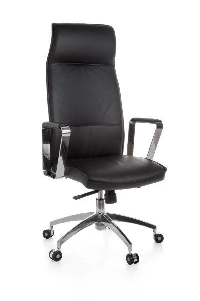 VERONA Bürostuhl, Schreibtischstuhl, Chefsessel, Echtleder Schwarz