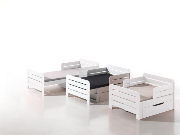 Kinderbett Jumper ausziehbar 160-200 cm, inkl. Bettschublade & Matratze, weiß... | Kinderzimmer > Textilien für Kinder > Kinderbettwäsche | Vipack