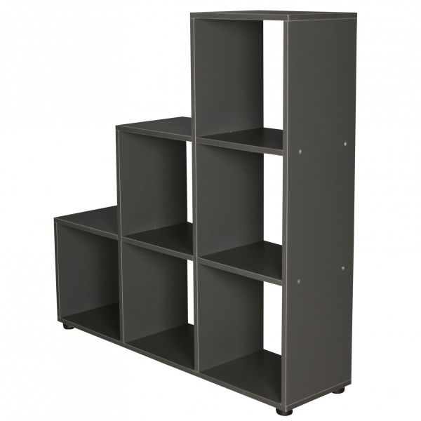 Stufenregal Raumteiler LUNA Holz, 6 Fächer, grau, 104,5x111x29 cm
