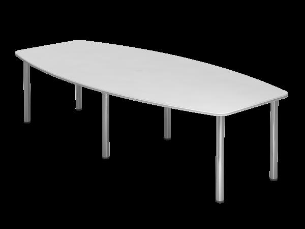 Konferenztisch KT28C 280x130cm Weiß 6-Fuß Gestellfarbe: Chrom