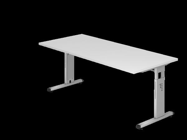 Schreibtisch C-Fuß 180x80cm Weiß Gestellfarbe: Silber
