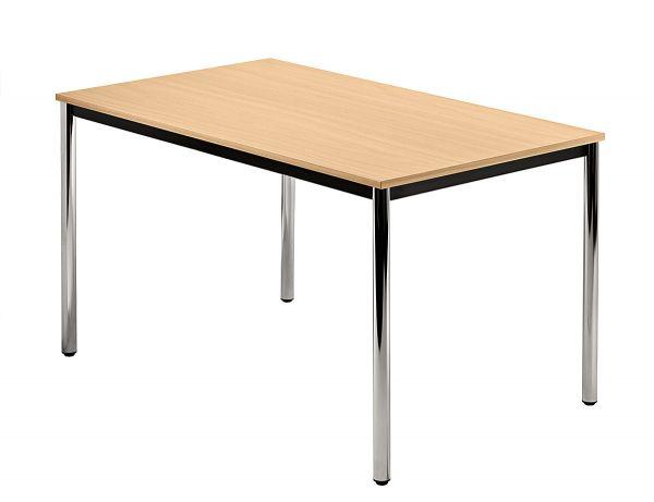 DORAN Konferenztisch mit Rund-Rohr, 120 x 80cm, Buche Chrom