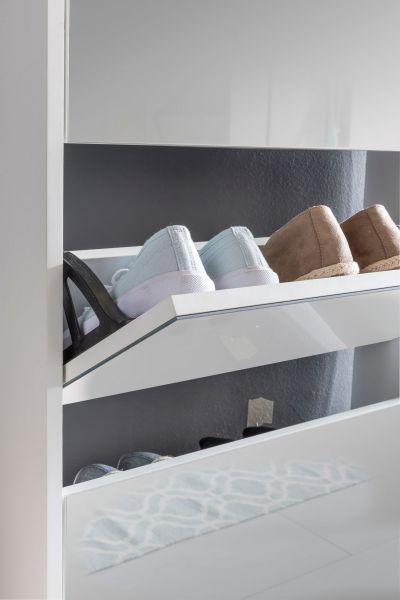 Schuhkipper NIKLAS 3 Klappen Weiß mit Spiegel 63x103x17 cm Schuhschrank