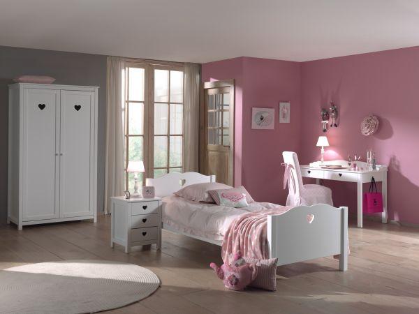 Set Amori best. aus: Einzelbett, Nachtkonsole, Schreibtisch und Kleiderschrank 2-trg., Weiß