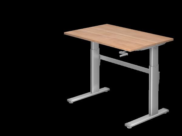 Sitz-Steh-Schreibtisch Kurbel XK12 120x80cm Nussbaum Gestellfarbe: Silber