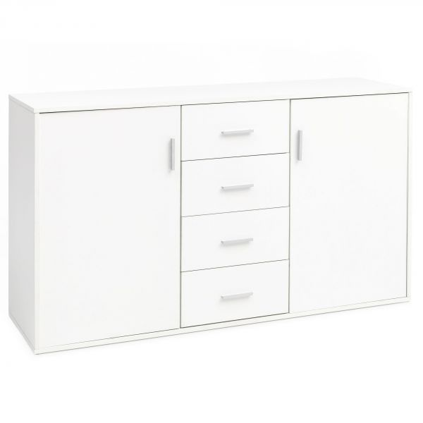 Sideboard Schubladenschrank Holz Breit 138x82,5x40 cm Weiß Matt