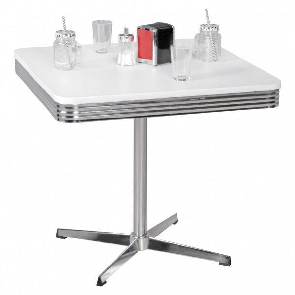 ELVIS Retro Esstisch Küchentisch, American Diner, Design USA, Silber Weiß, 80x80cm
