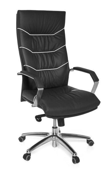 FERROL Bürostuhl, Schreibtischstuhl, Chefsessel, Echtleder Schwarz