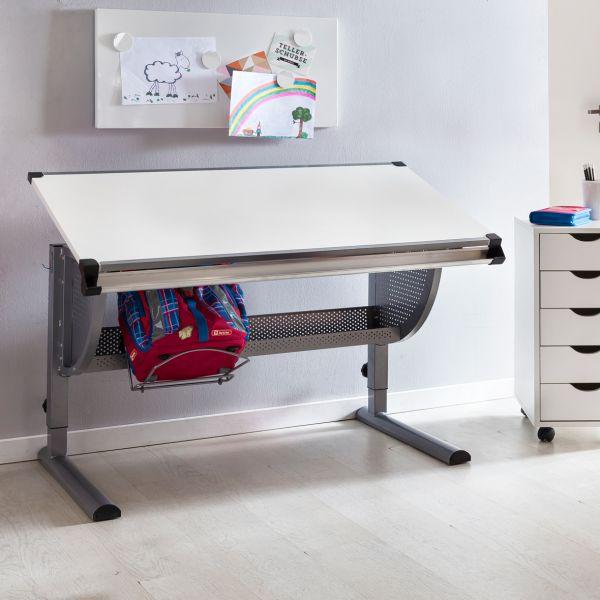 Design Kinderschreibtisch MAXI Holz, 120x60cm, grau / weiß