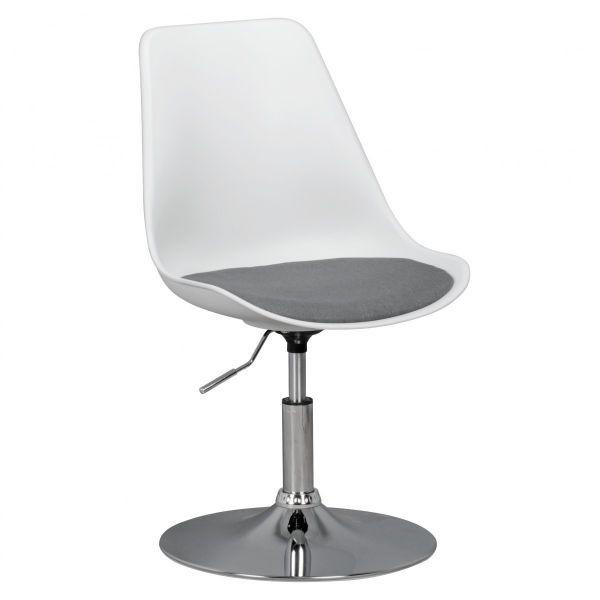 KORSIKA Drehstuhl Stuhl, höhenverstellbar, Kunstleder, Weiß / Grau