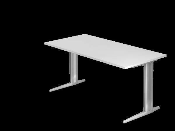 Schreibtisch XS16 C-Fuß 160x80cm Weiß Gestellfarbe: Silber