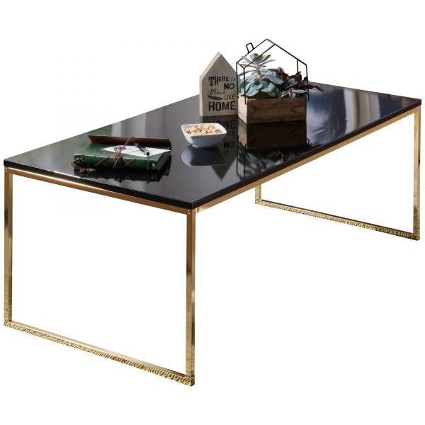 Couchtisch RIVA 120x45x60 cm Metall Holz Sofatisch Schwarz / Gold