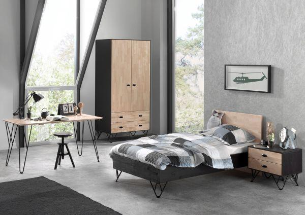 Set William best. aus: Einzelbett, Nachtschrank, Kleiderschrank, Schreibtisch, Kiefer massiv
