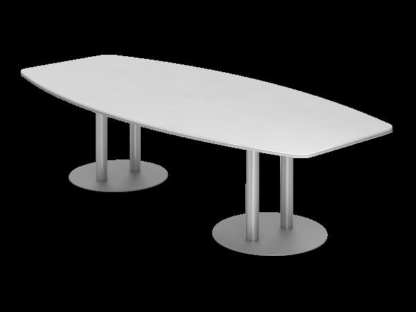 Konferenztisch KT28S 280x130cm Säulenfuß Weiß Gestellfarbe: Silber