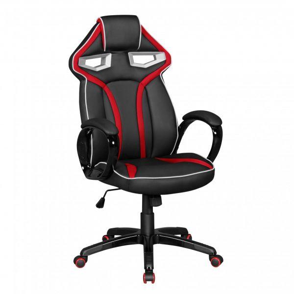 GameStar Bürostuhl Schreibtischstuhl Leder-Optik Schwarz Rot