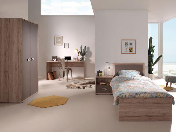 Set Emiel best. aus: Einzelbett, Nachtkonsole, Kleiderschrank, Schreibtisch, Eiche San Remo Dekor