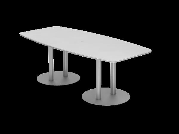 Konferenztisch KT22S 220x105cm Weiß Säulenfuße Gestellfarbe: Silber