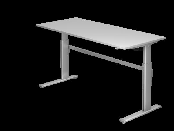 Sitz-Steh-Schreibtisch elektrisch XM19 180x80cm Grau Gestellfarbe: Silber