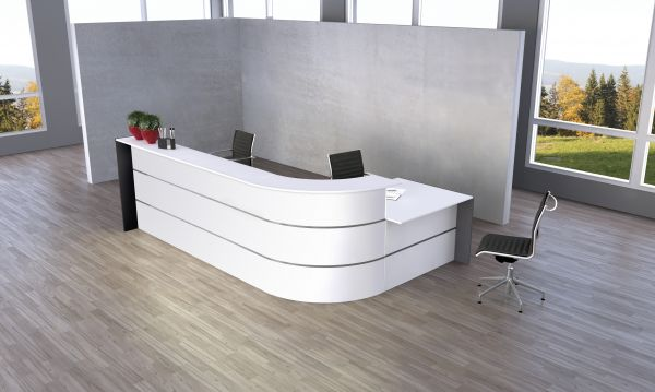 Bari große L-Theke mit Beratungsplatz Weiß