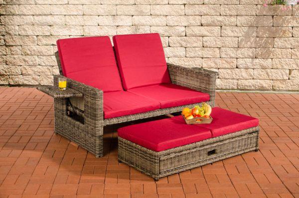 Sofa Ancona Rubinrot 5mm, grau-meliert