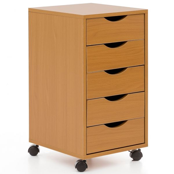 Rollcontainer MDF-Holz 33x64x38cm Buche