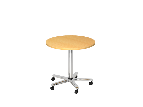 Säulenhubtisch rund, 80cm, Buche / Chrom