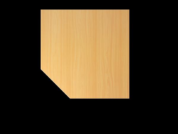 Verkettungsplatte BT12 120x120cm trapezförmig mit Stützfuß Buche