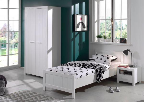 Set Erik best. aus: Einzelbett, Nachtkonsole, Kleiderschrank 2-trg., Weiß