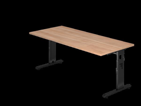 Schreibtisch OS19 C-Fuß 180x80cm Nussbaum Gestellfarbe: Schwarz