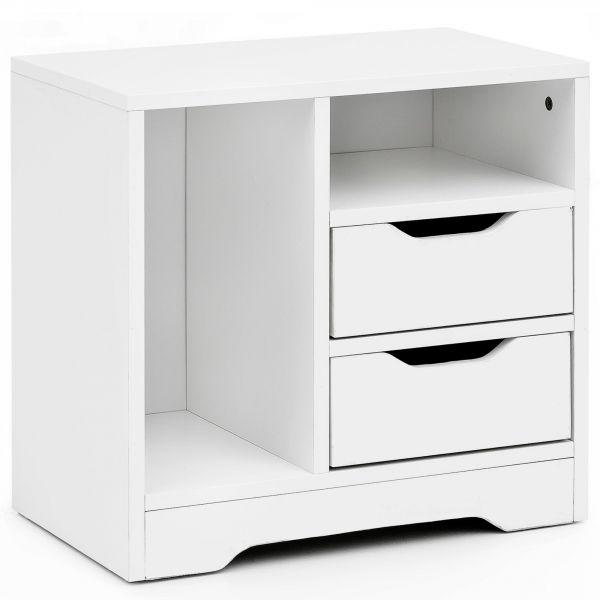 Nachtkonsole WL5.706 49x50x30 cm Weiß Matt 2 Schubladen 2 Ablagefächer